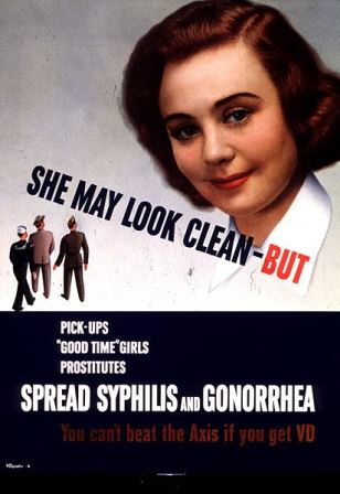 WWII poster warning soldiers about VD (and not the good kind). Image via Wikipedia.